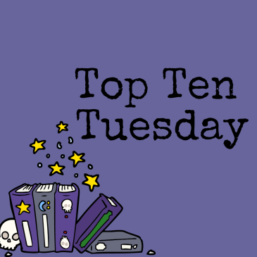 Top Ten Tuesday banner with spells books