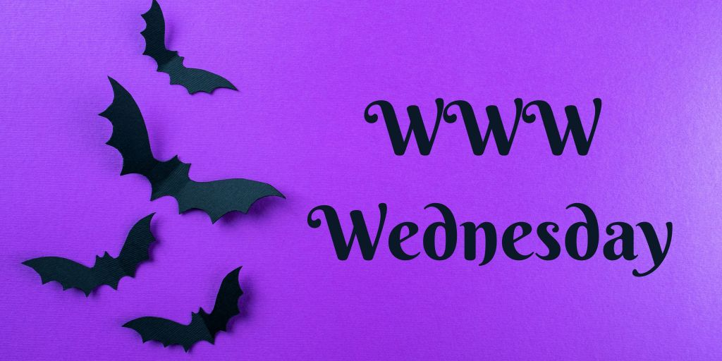 WWW Wednesday purple banner with bats